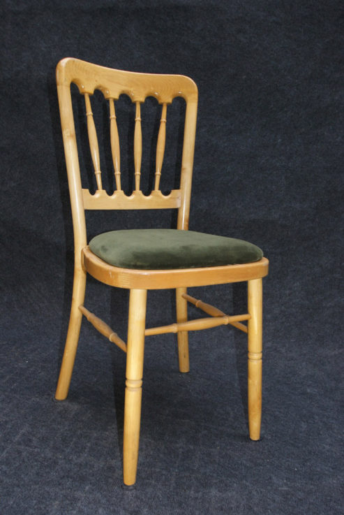 Natural wood banquet chair with green cushion