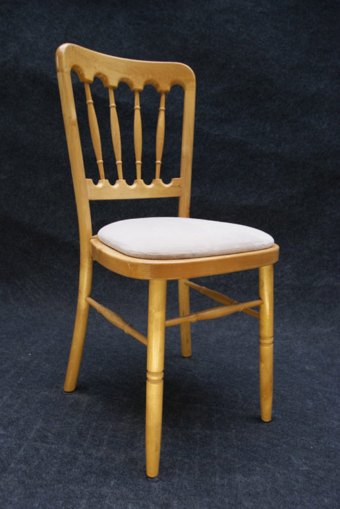 Natural wood banquet chair with ivory cushion