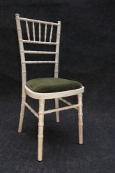 chivary limewash chair with green cushion