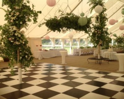 Canvas Marquee interior with dance floor