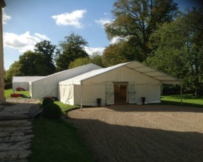 Framed marquee with entrance awning