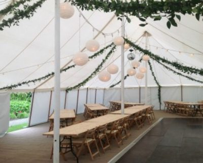 Marquee built in 3 hours on day of wedding interior