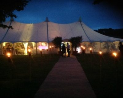 canvas marquee with coir walkway