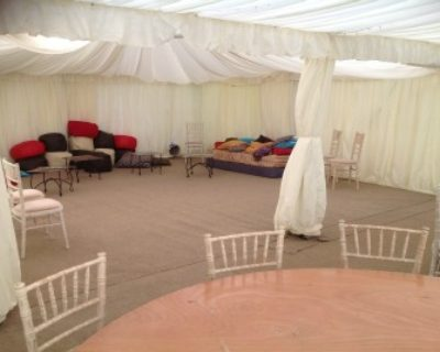chillout area joined to main marquee