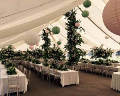 coloured lanterns in traditional marquee