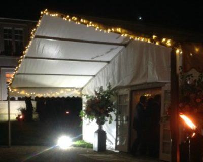 entrance awning on framed marquee
