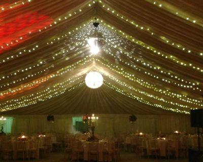 fairy lights over dance floor