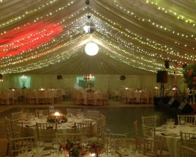framed marquee with fairy lights