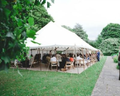 outside of wedding marquee at royal botanical gardens bath