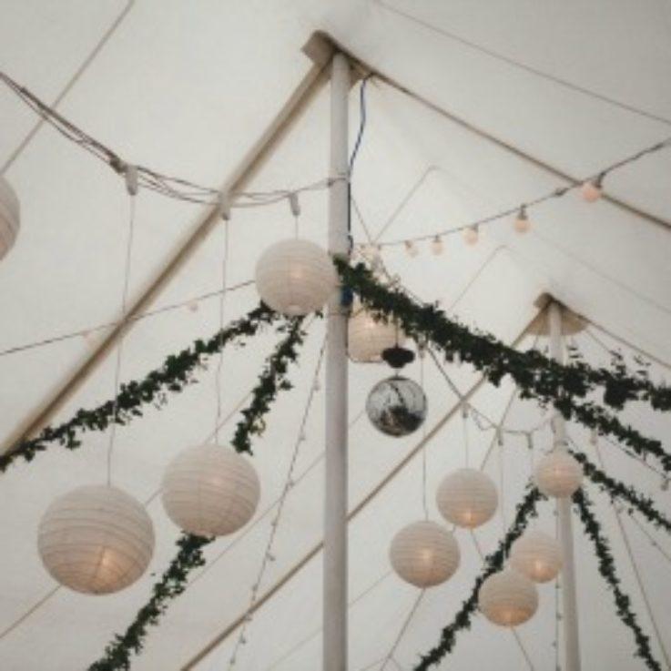 paper lanterns with festoon lights
