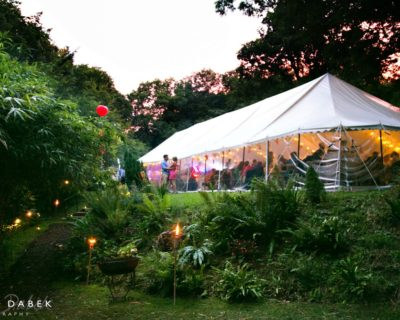 traditional marquee in somerset woodlands