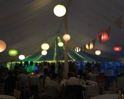 traditional marquee with coloured lanterns ed