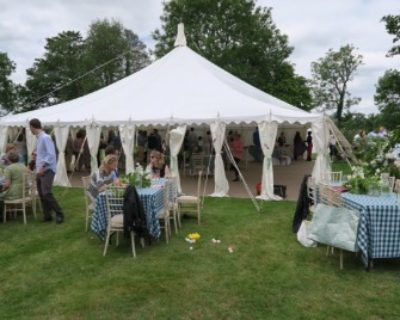 traditional marquee with leg drapes