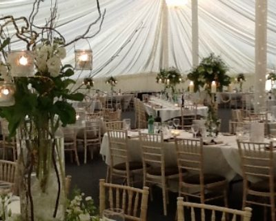 traditional marquee with table decorations