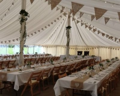 traditional vintage marquee long tables bunting
