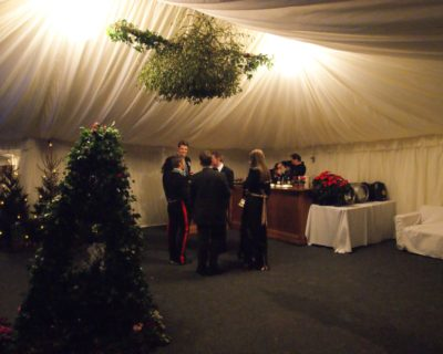 Interior of a winter wedding marquee