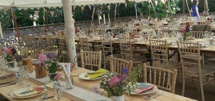 Rustic-pine-trestle-tables
