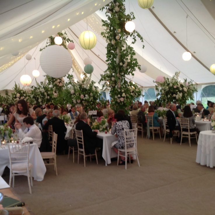 canvas marquee with ivory roof overlays