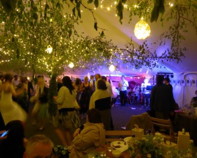 Traditional marquee with greenery decorations