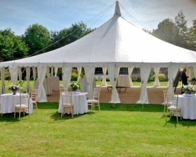 Outside seating with traditional style marquee