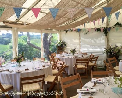 frame marquee with hessian lining