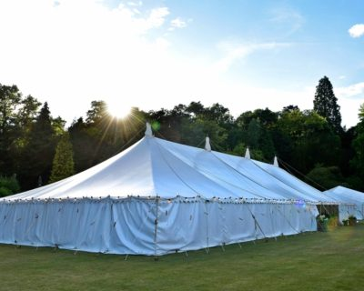 traditional marquee at sunset