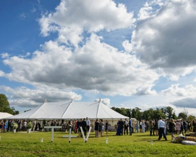 traditional marquee with guests outside
