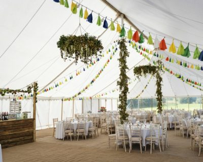 traditional wedding marquee with rustic decorations