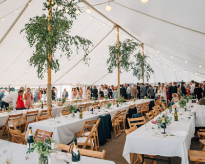 Interior of traditional marquee without lining