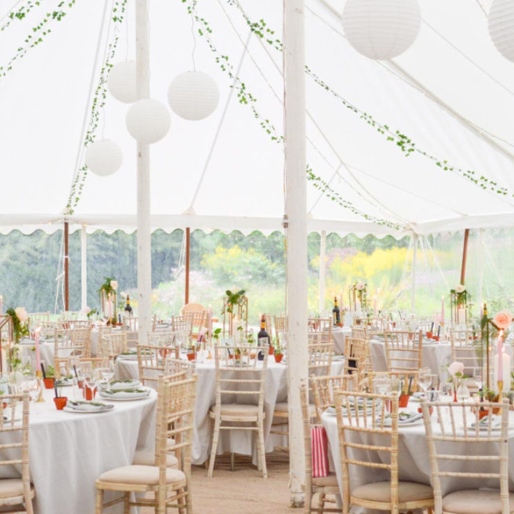 Lantern lights inside traditional Marquee
