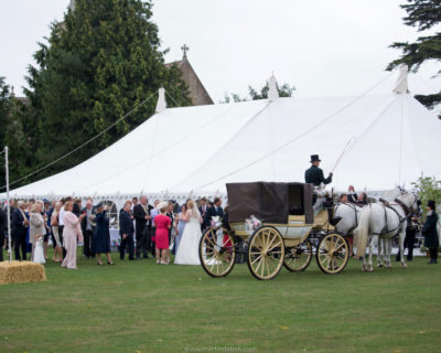 Marquee with wedding carriage Martin Dabek Photography