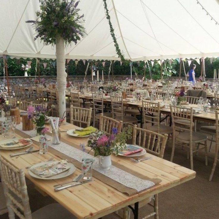 Rustic pine trestle tables