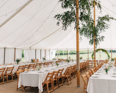 Traditional Marquee with Coir Carpet and Trestle tables (1)