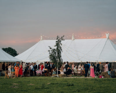 Traditional Marquee with festoon roof lighting