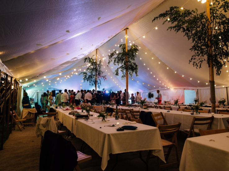 Traitional Marquee with festoon lights inside