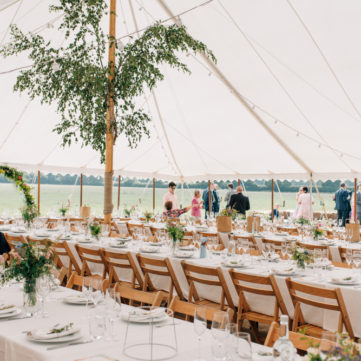 Trestle Tables and Wooden folding chairs