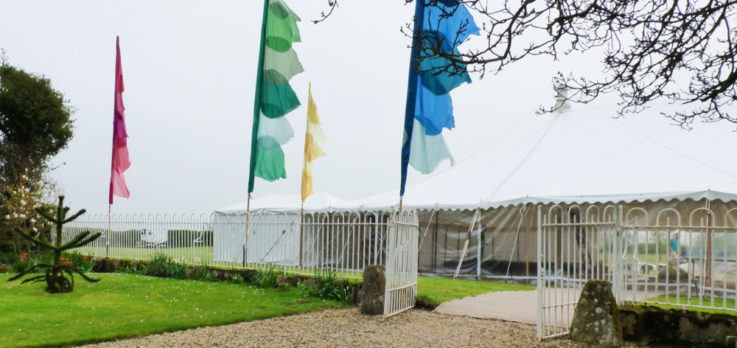 Festival flags and wedding marquee