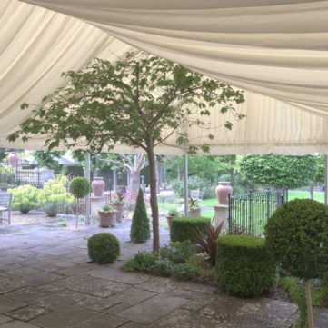 Framed marquee with open sides