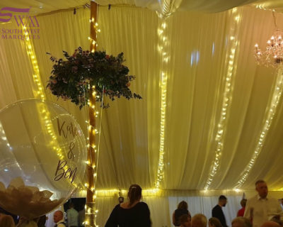 Fairy lights behind lining