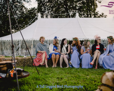 Fire pit outside wedding marquee