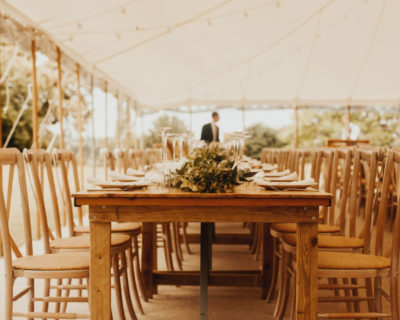 Vintage pine trestle tables with crossback chairs