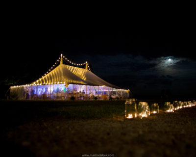 candle light and marquee at night