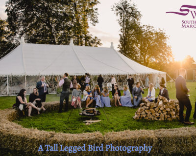 straw bales outsdide wedding marquee