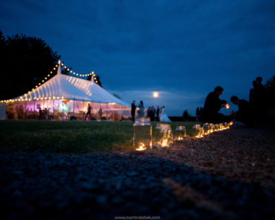 traditional marquee at night with candles