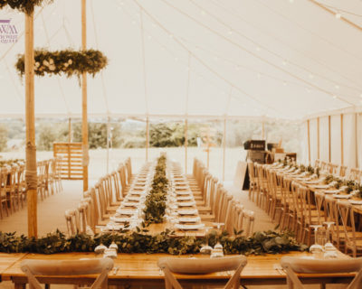 traditional marquee with wooden poles