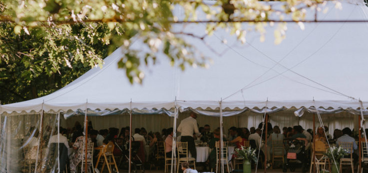 wedding breakfast in traditional marquee