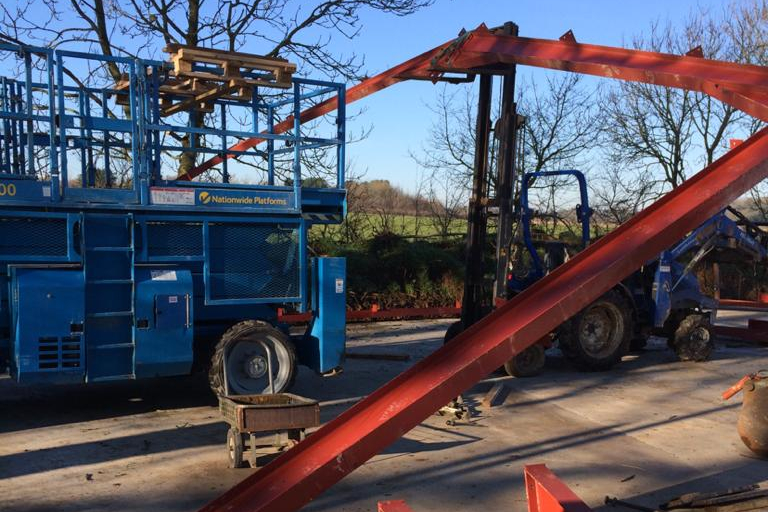 Building work being carried out on the farm