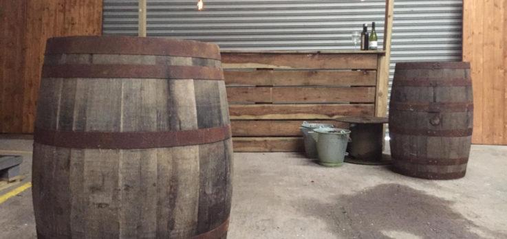 oak barrel bar tables